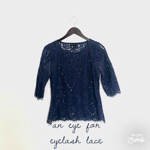 Willi Smith Navy Floral Eyelash Lace Top